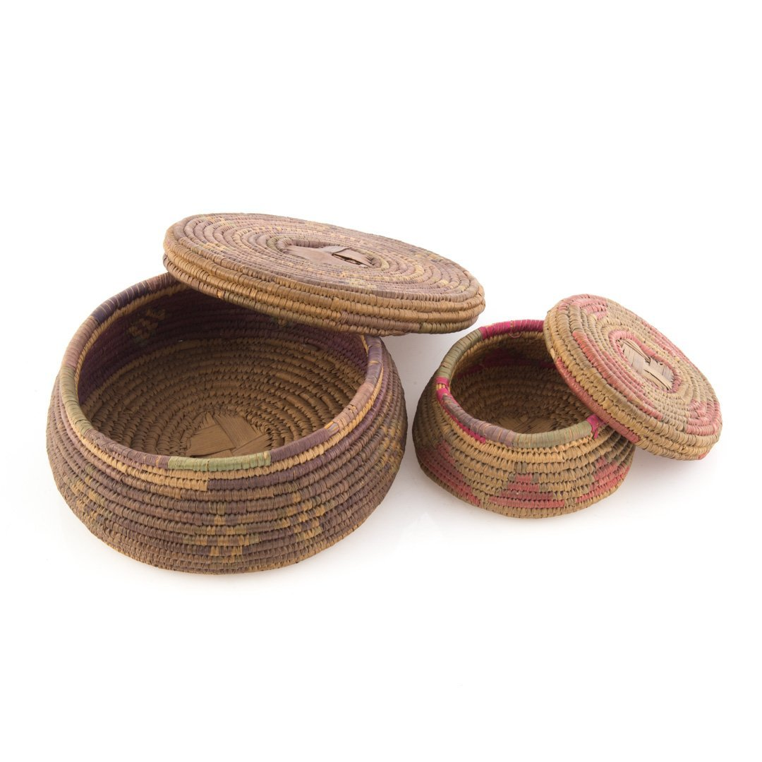 Two Native American woven covered baskets - 3