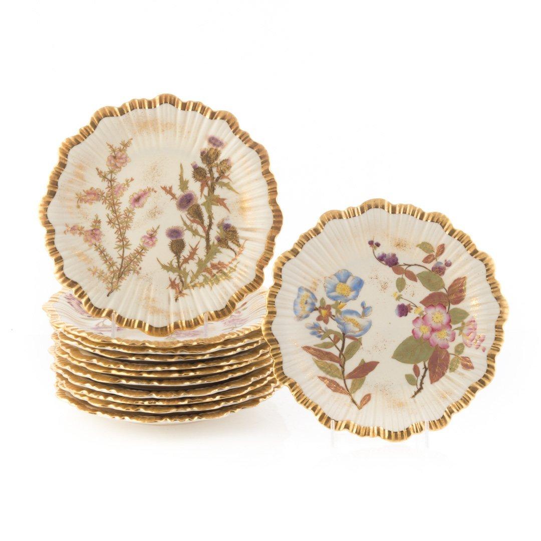12 Royal Worcester Art Nouveau china plates