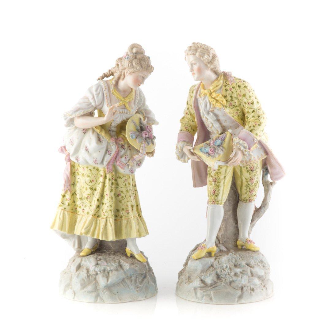 Pair of Meissen style porcelain figures