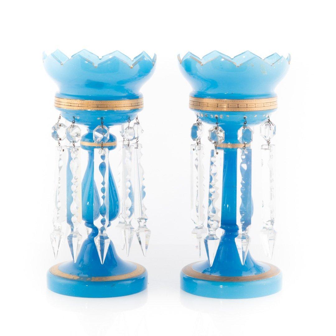 Pair of Bristol blue glass lustres