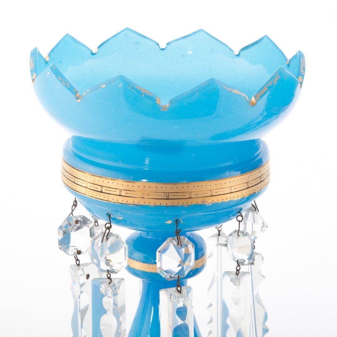 Pair of Bristol blue glass lustres - 2