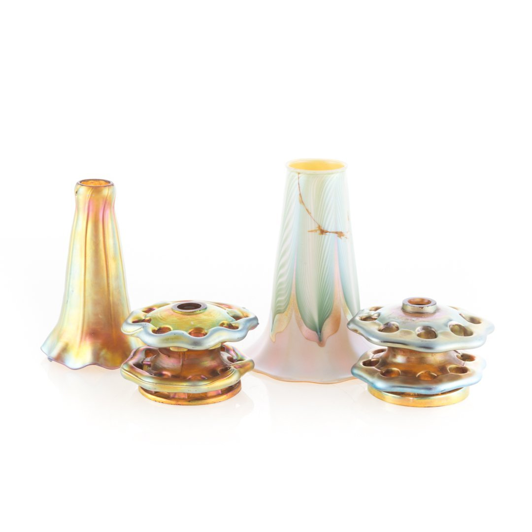 Four iridescent glass articles