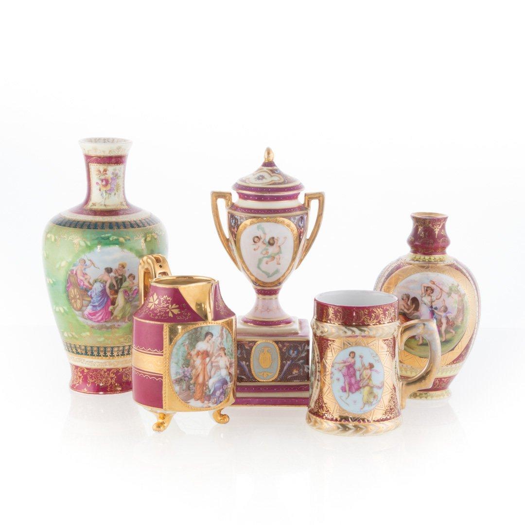 Five Vienna porcelain articles