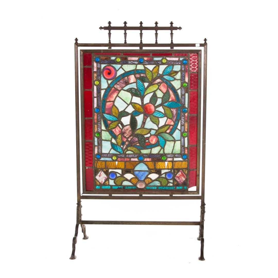 Aesthetic Movement leaded glass fire screen