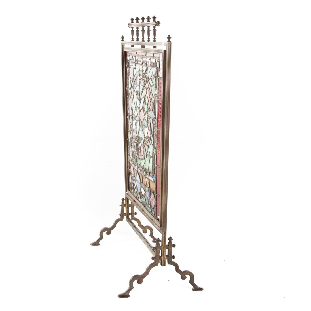 Aesthetic Movement leaded glass fire screen - 2