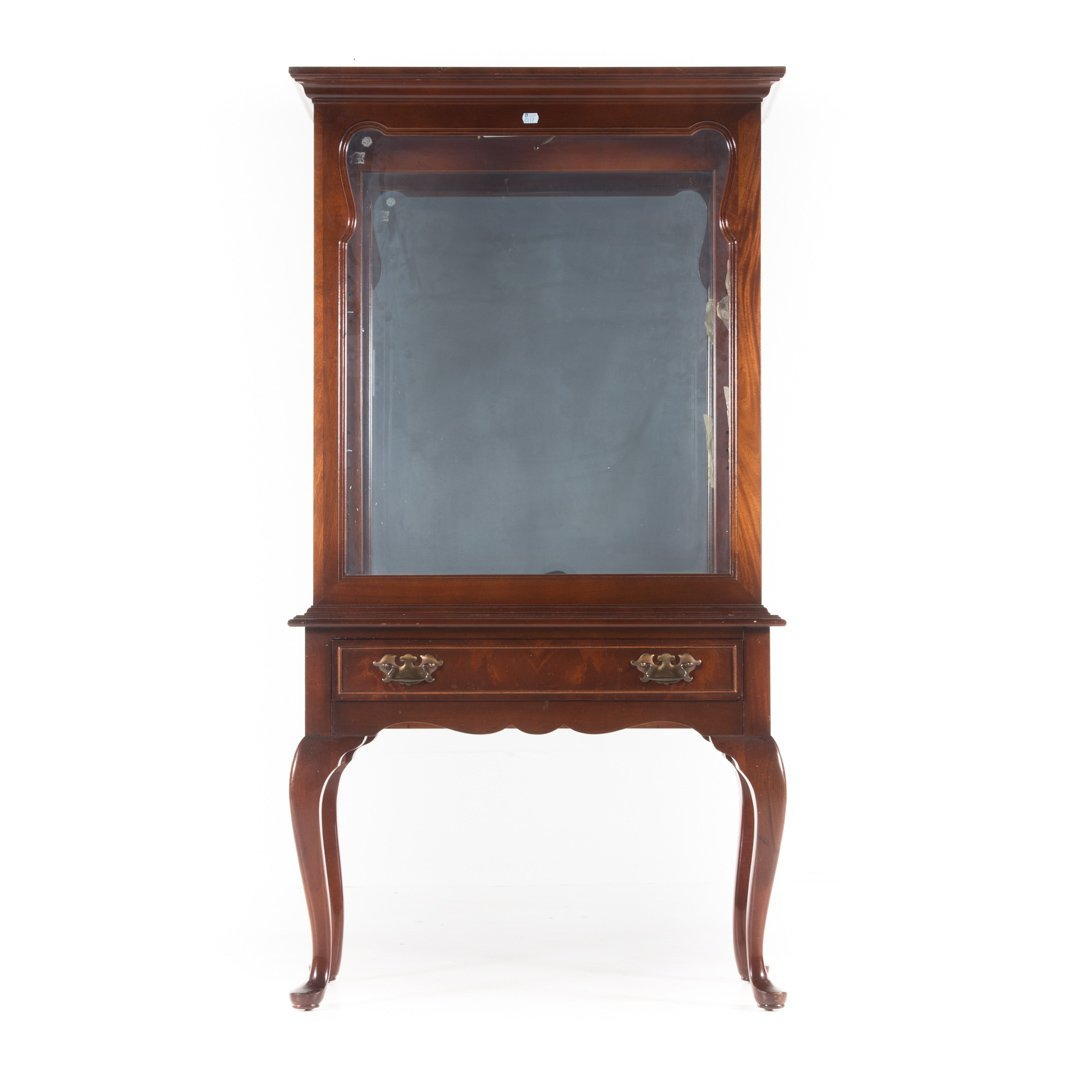 Queen Anne style mahogany curio cabinet