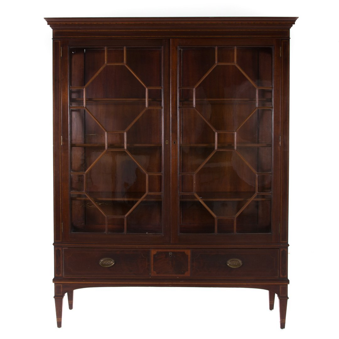Potthast Bros Federal style mahogany inlay cabinet