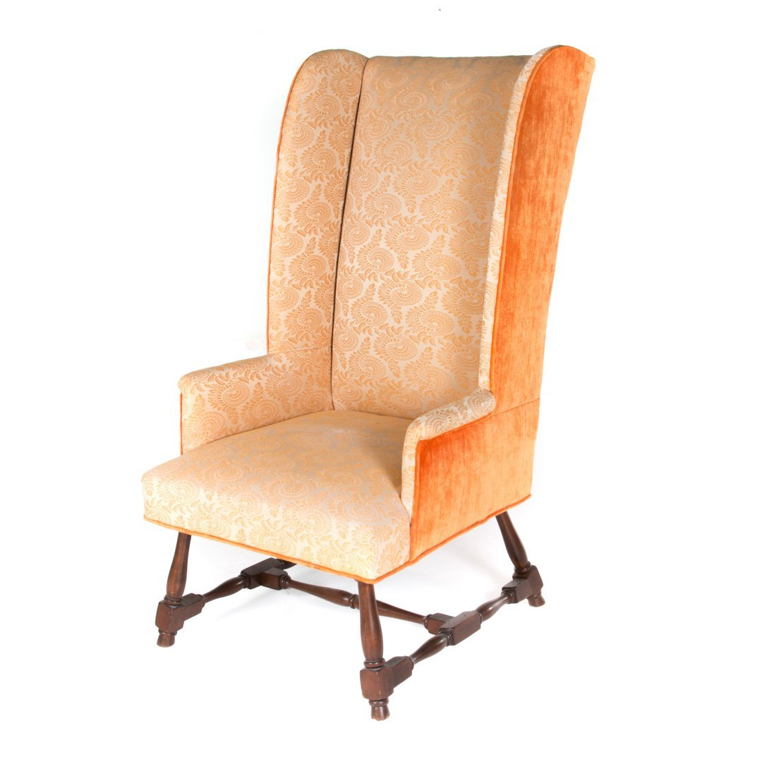 William and Mary style upholstered wing chair