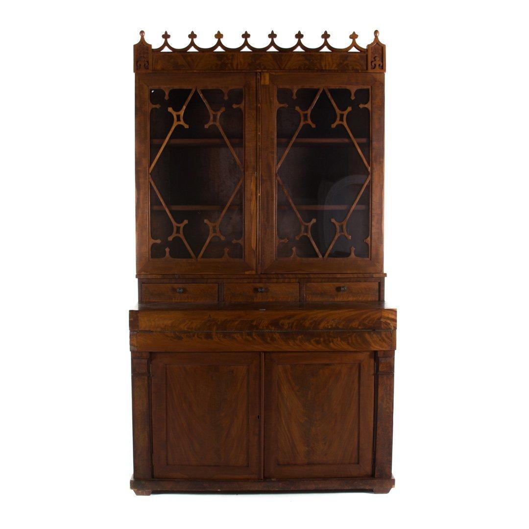 American Gothic revival walnut secretary bookcase
