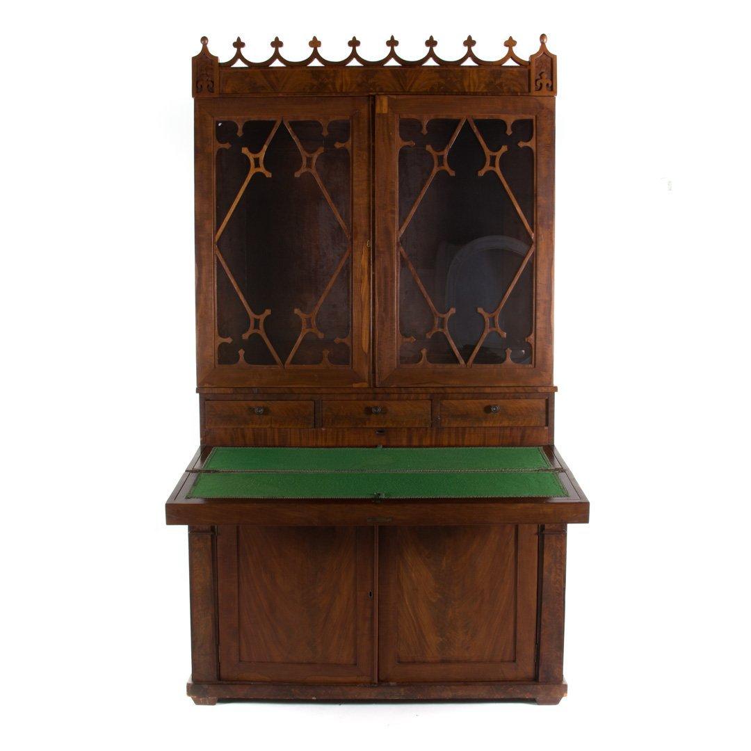 American Gothic revival walnut secretary bookcase - 2