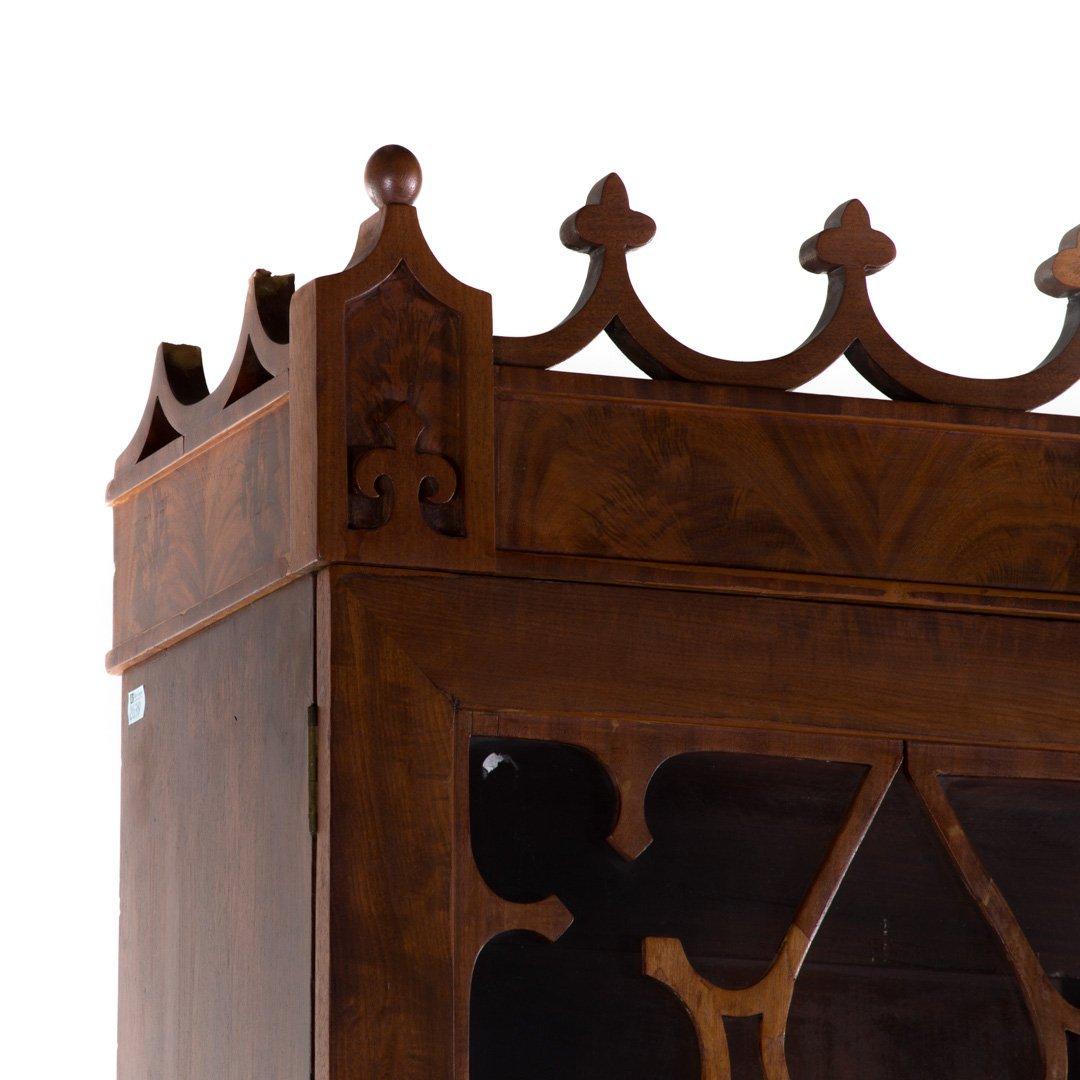 American Gothic revival walnut secretary bookcase - 3