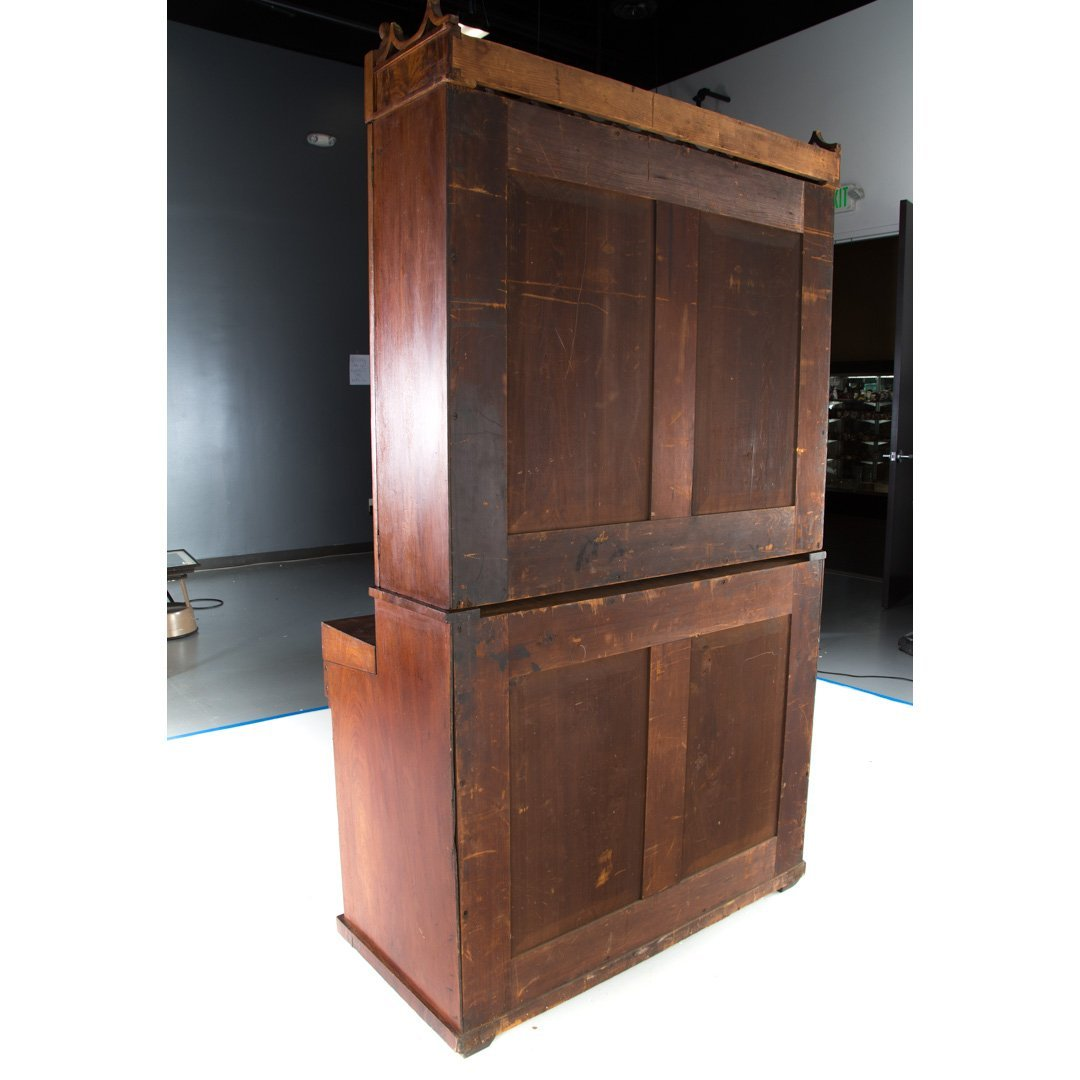 American Gothic revival walnut secretary bookcase - 5