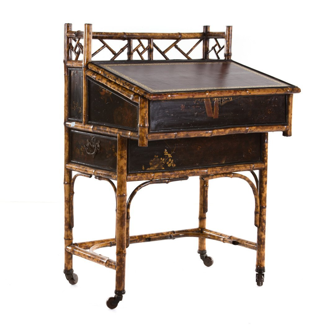 Victorian painted bamboo lady's desk - 2
