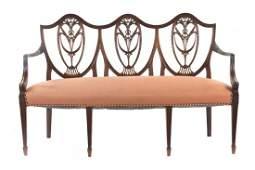 George III style mahogany triple-chair back settee