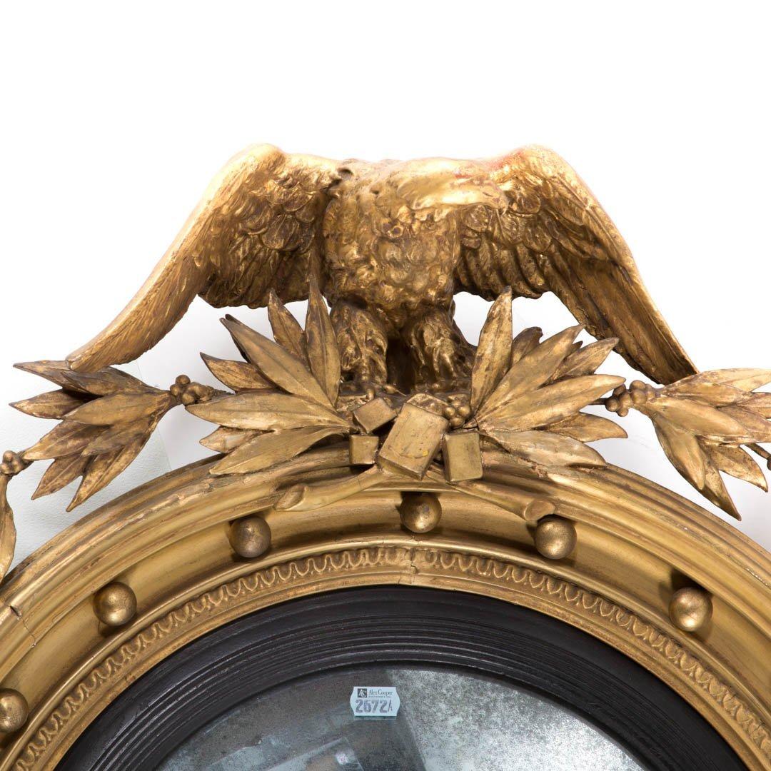 Regency giltwood convex mirror - 3