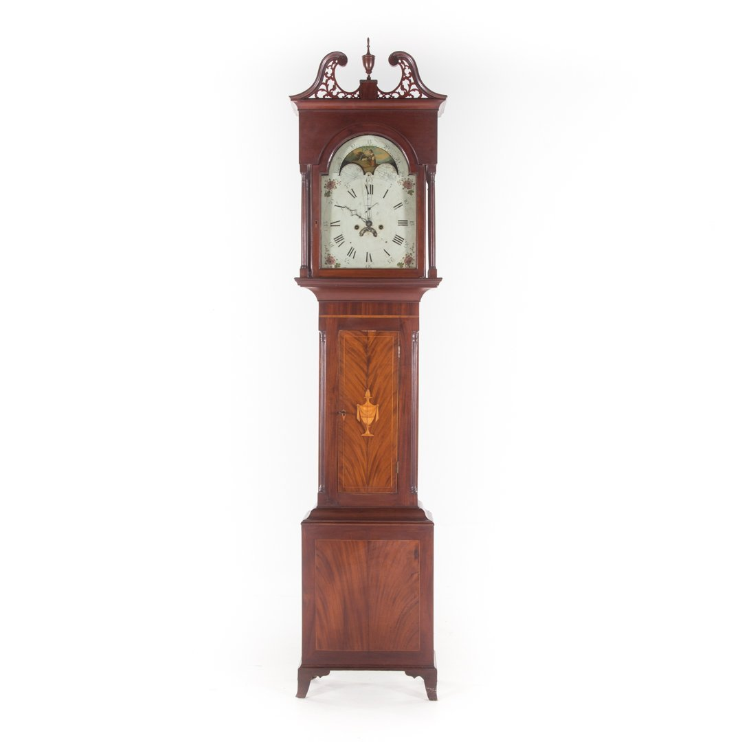 Federal inlaid mahogany tall-case clock