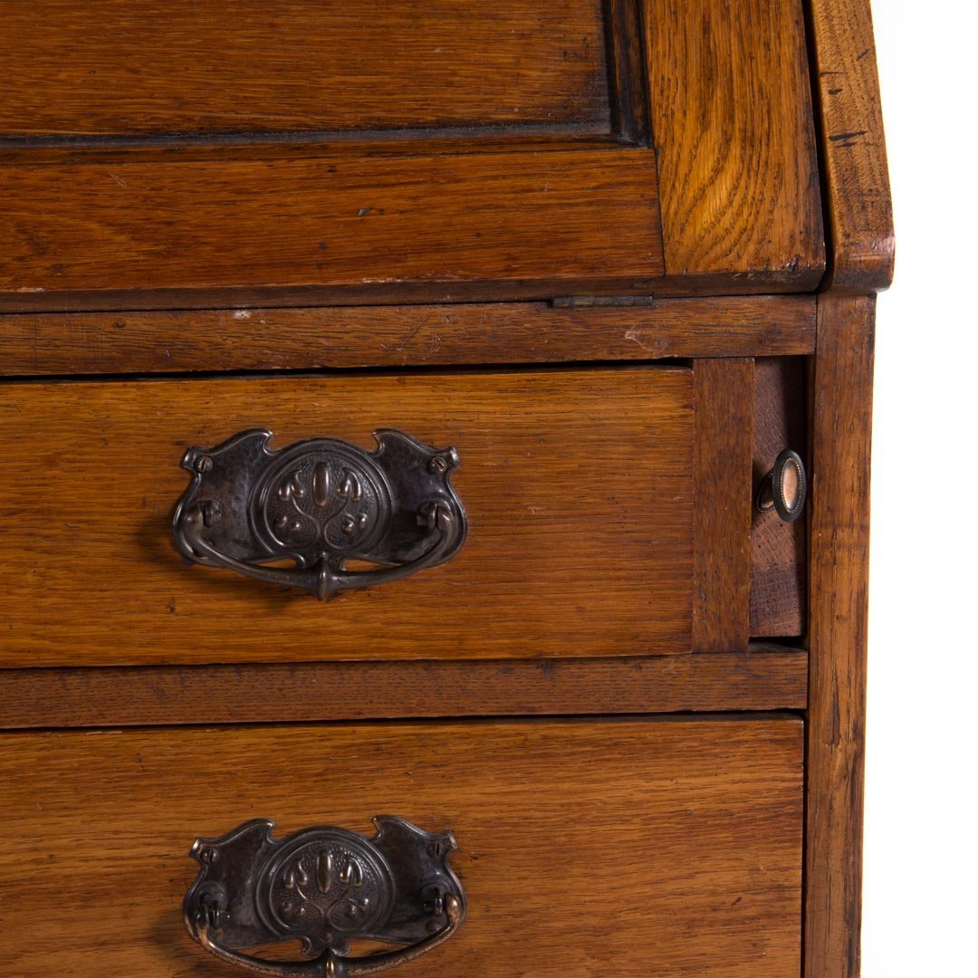 English Arts & Crafts oak secretary bookcase - 3