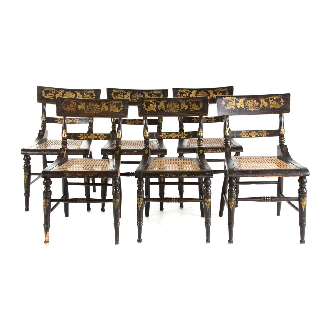 Six American Classical painted chairs