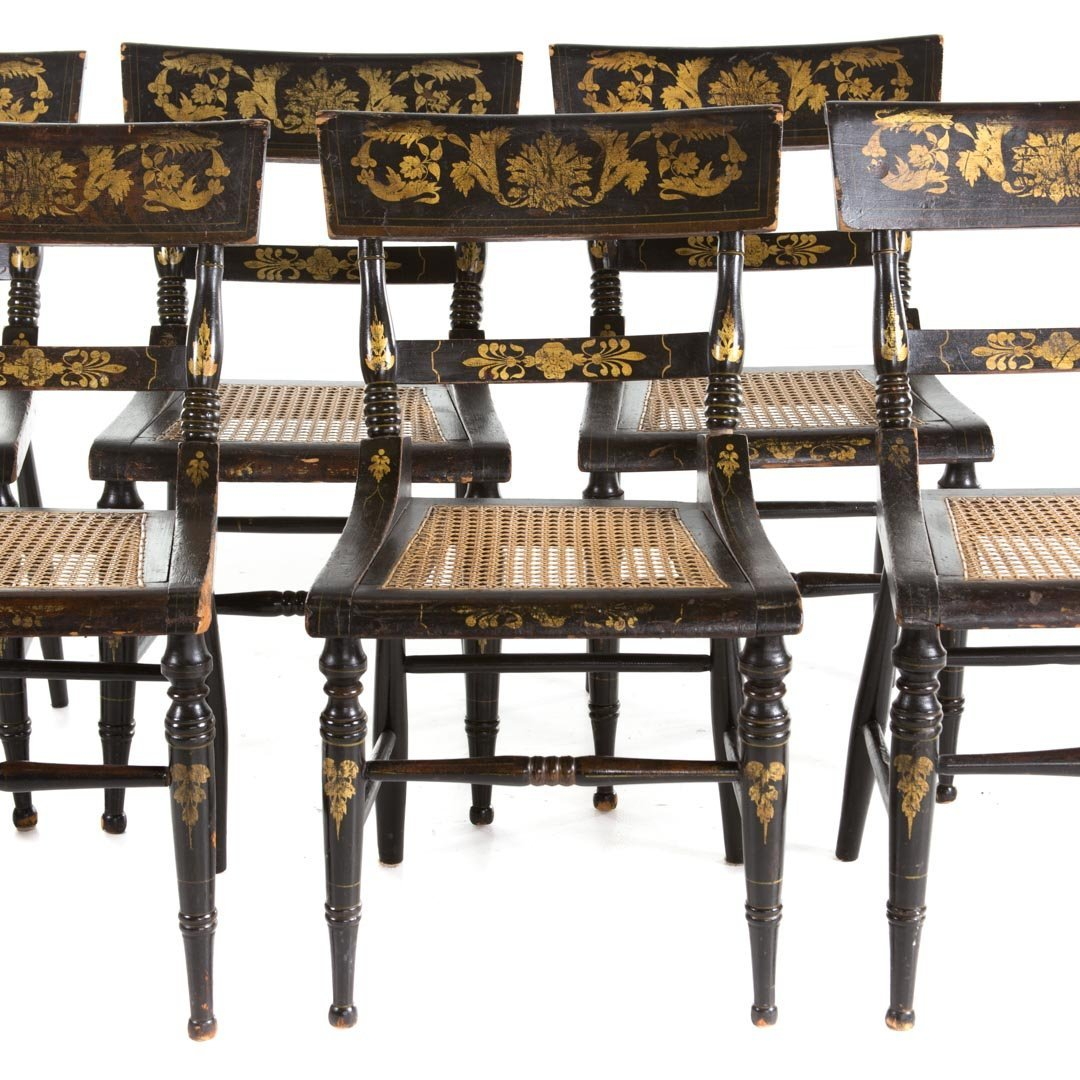 Six American Classical painted chairs - 2