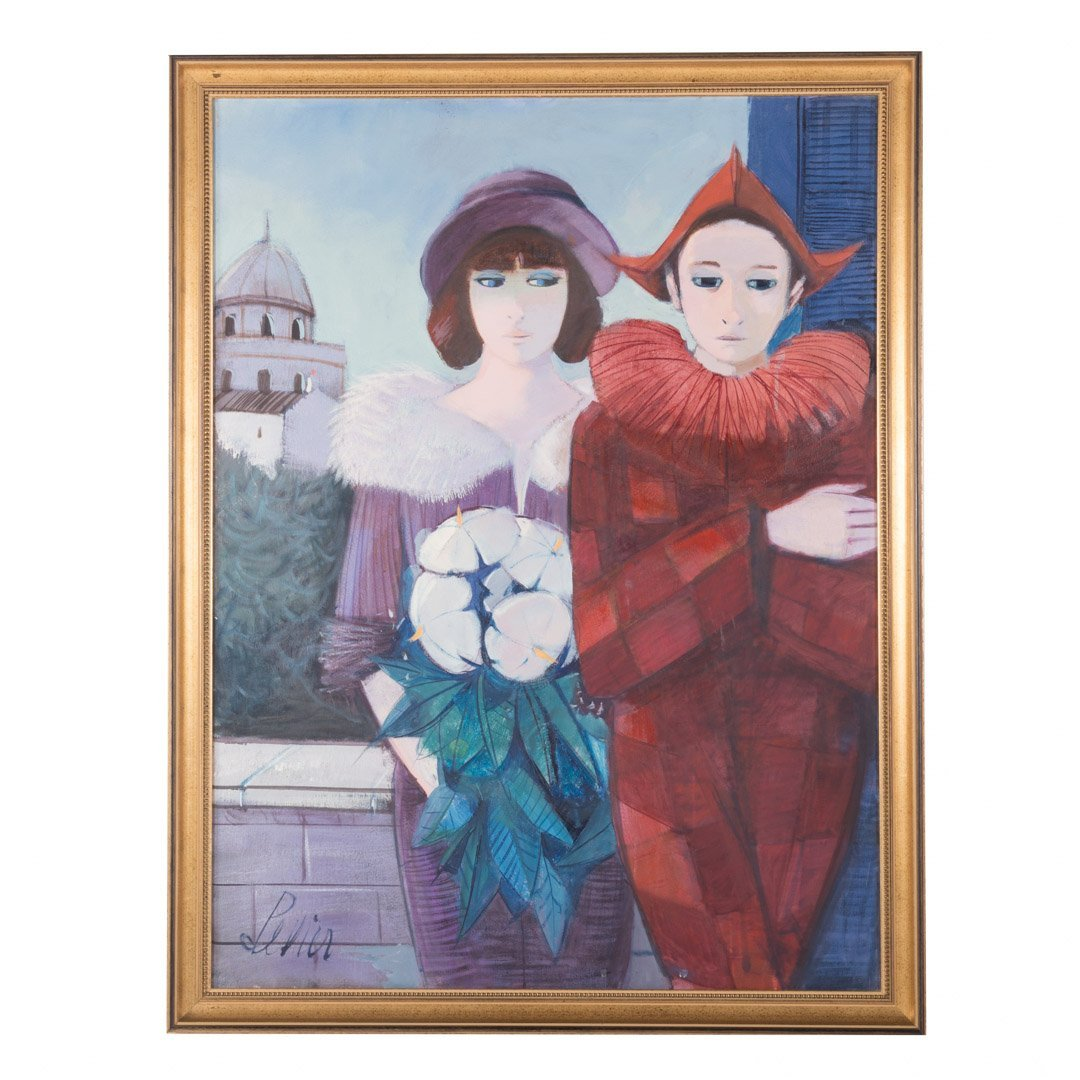 "Charles Levier. ""Saltimbanque et la Femme,"" oil"