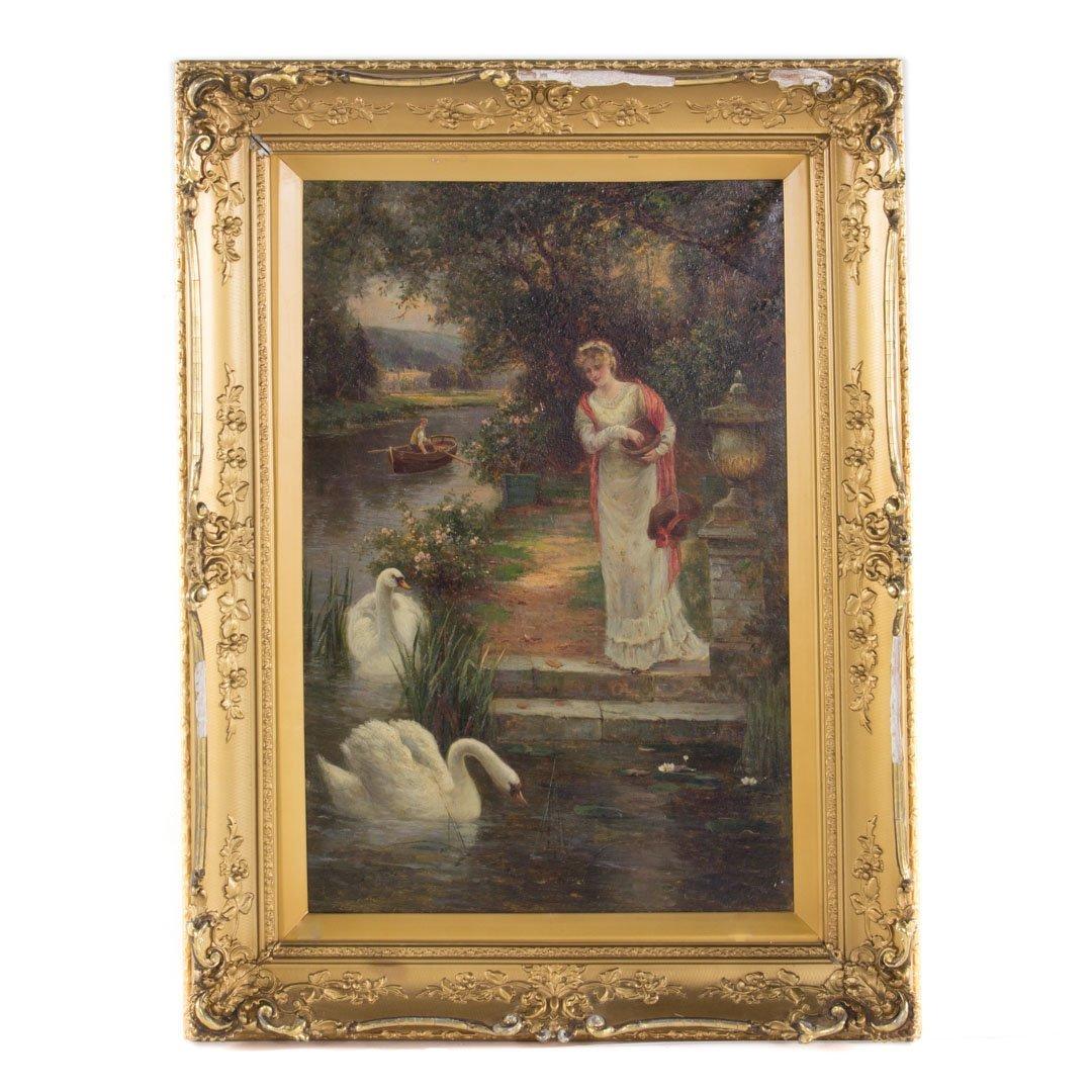 Henry Gordon. Feeding Swans, oil on canvas