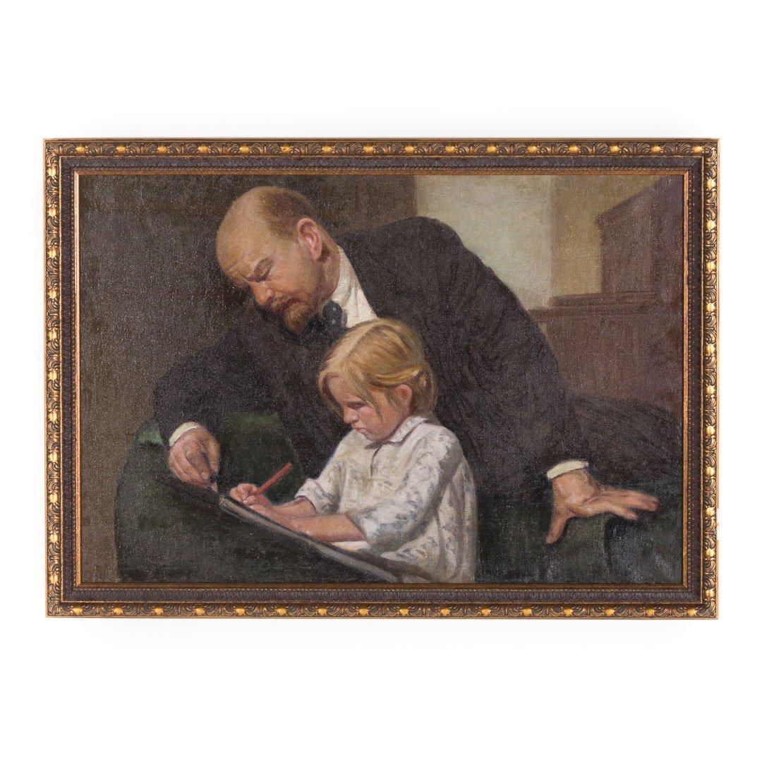 Russian School, e. 20th c. The Writing Lesson, oil
