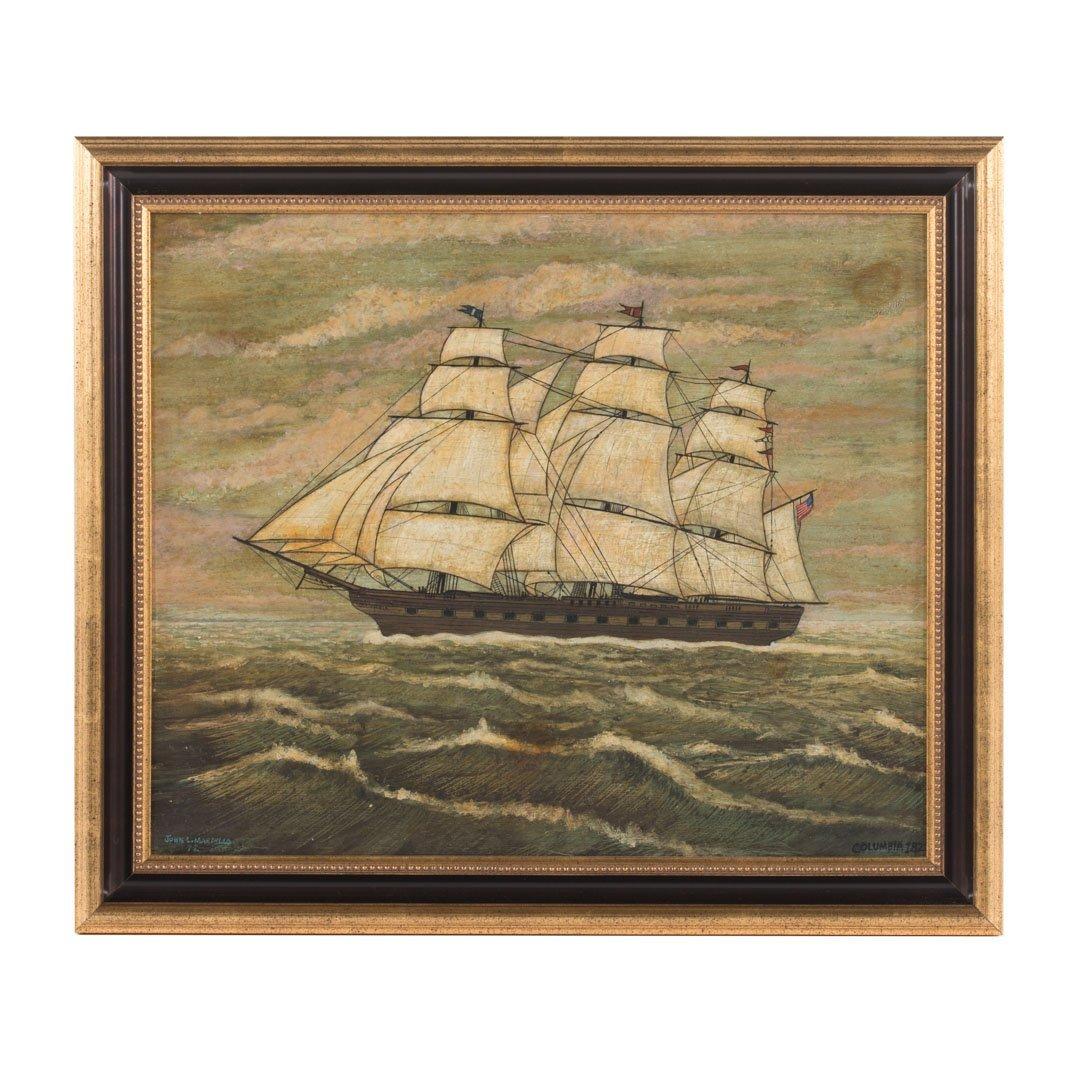"""John L. Martello. """"Columbia, 1822,"""" oil on board"""