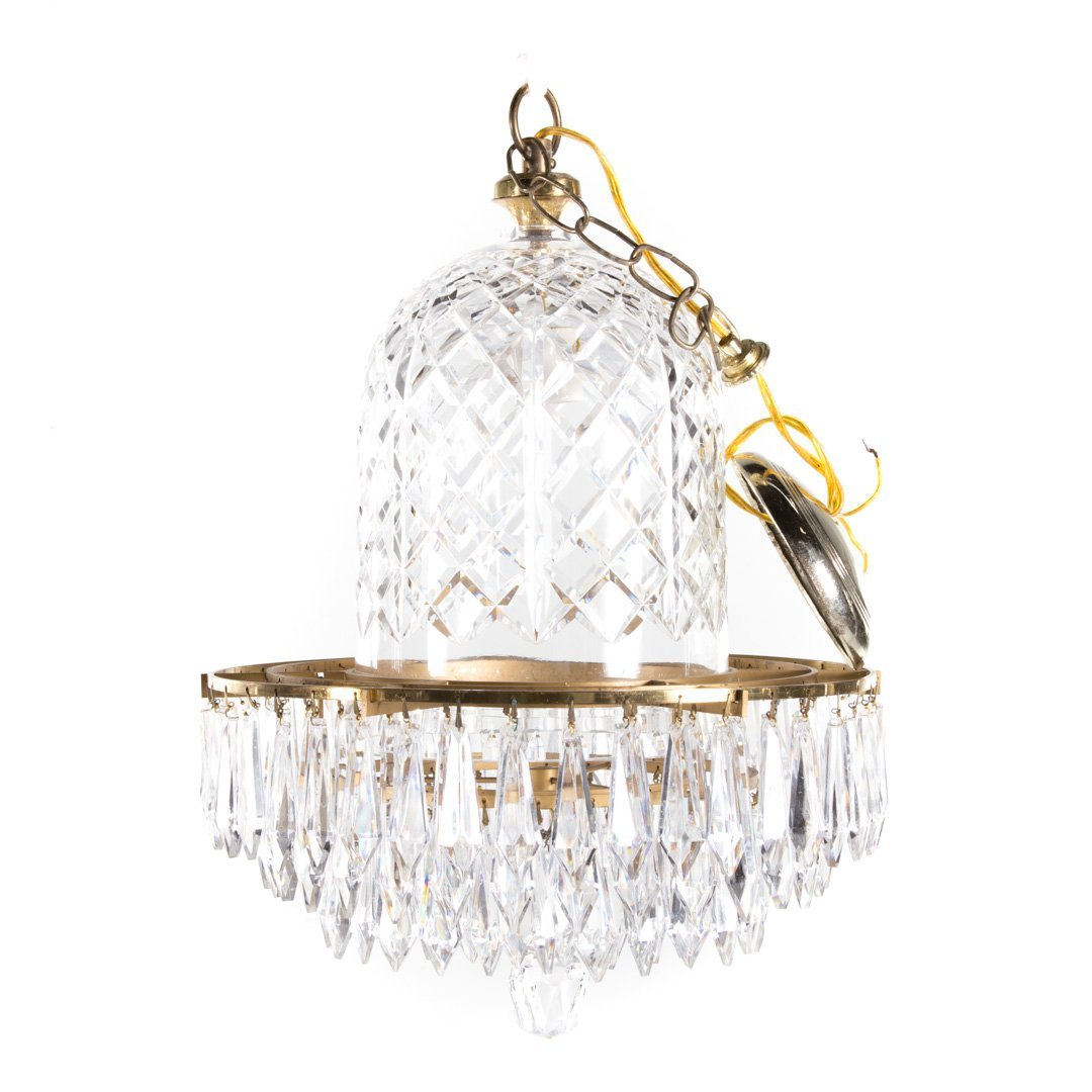 Waterford crystal and brass chandelier