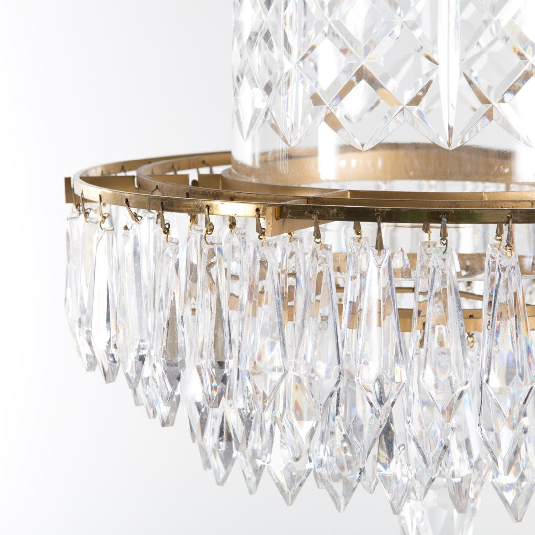 Waterford crystal and brass chandelier - 3