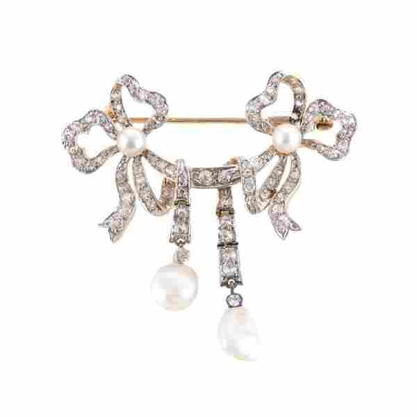 A Lady's Victorian Pearl & Diamond Bow Brooch