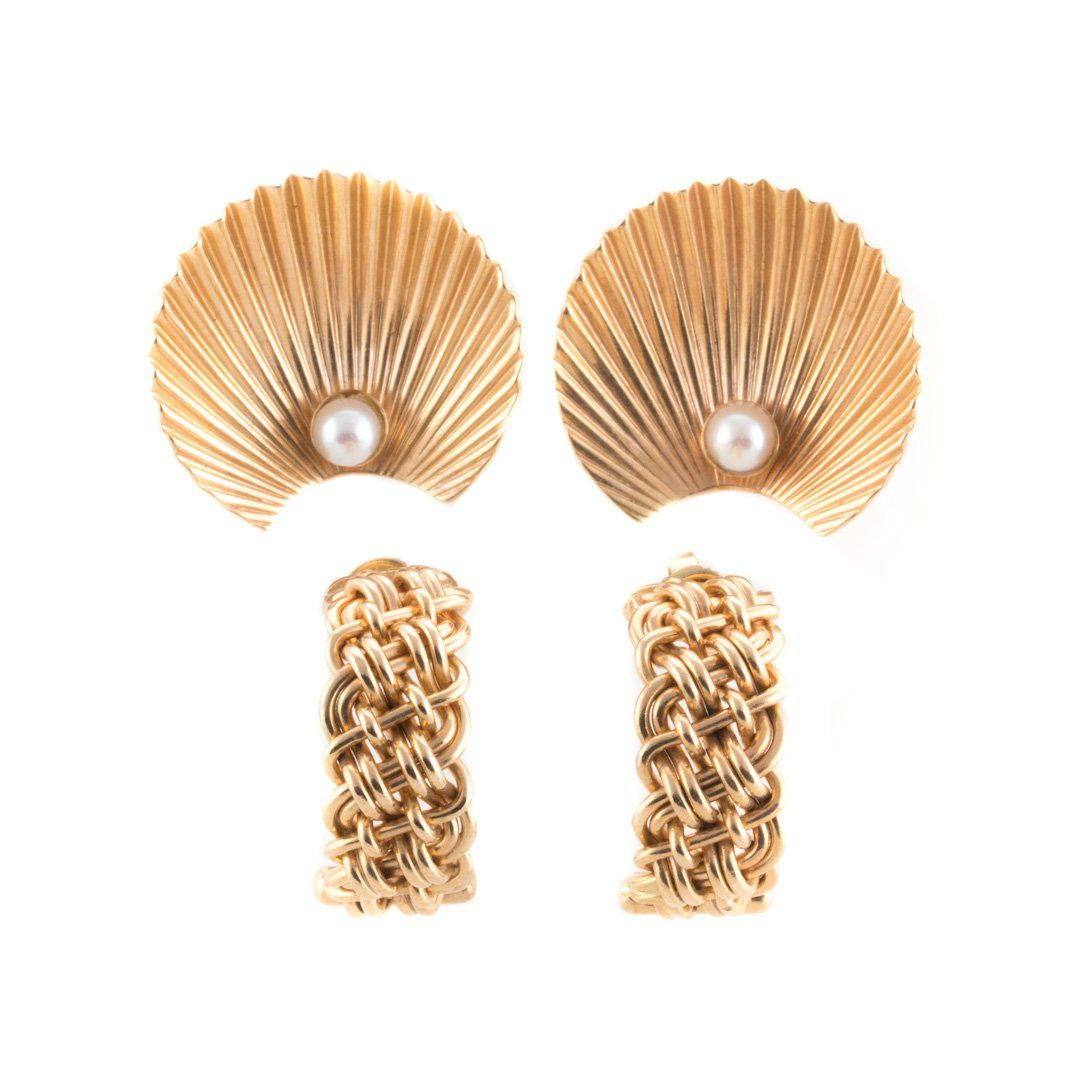 Two Pair of Lady's 14K Gold Earrings