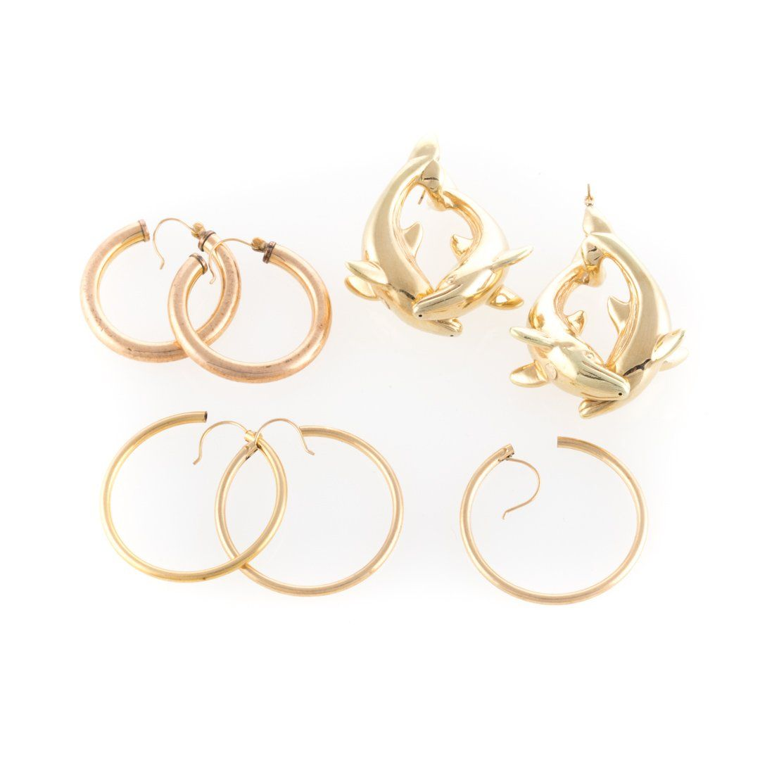 A Trio of Lady's 14K Gold Hoop Earrings