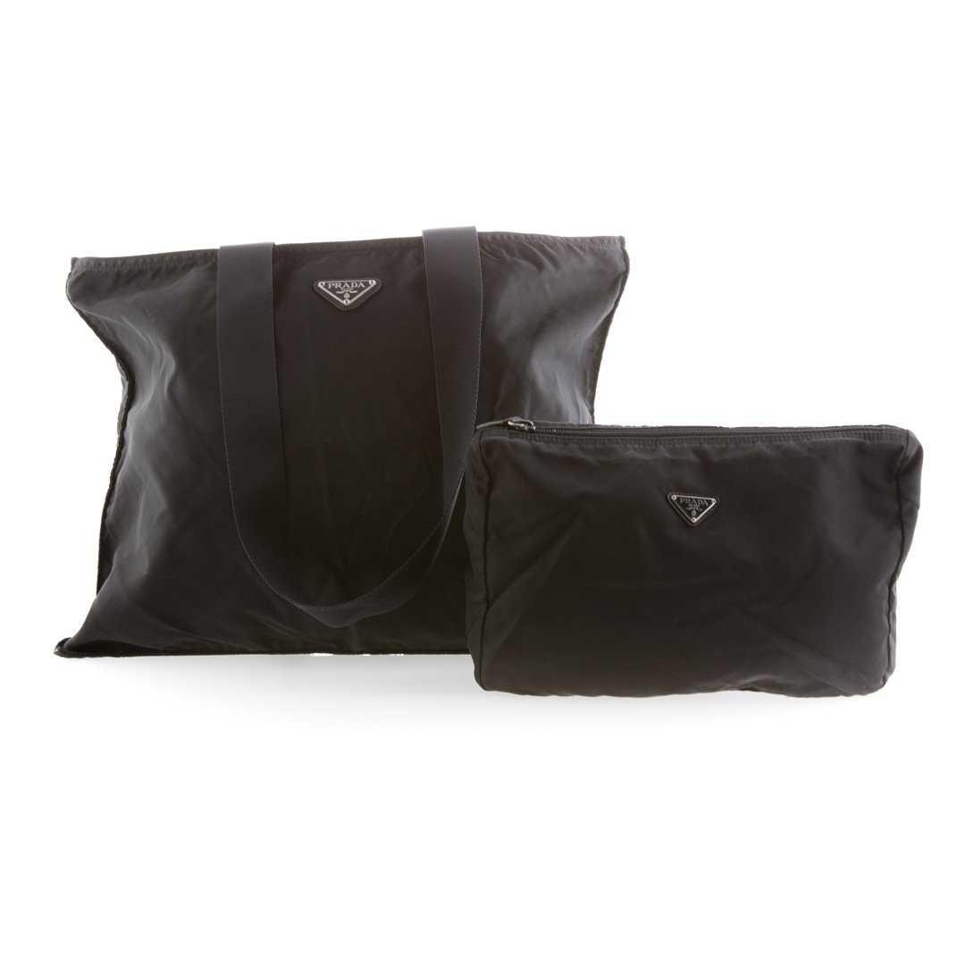 46735a40d6a4 A Prada Canvas Tote & Cosmetics Bag