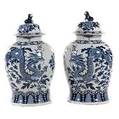 Pair large Chinese Export style porcelain jars