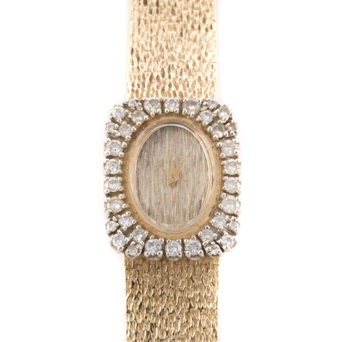 A Lady's 14K Diamond Cocktail Wrist Watch