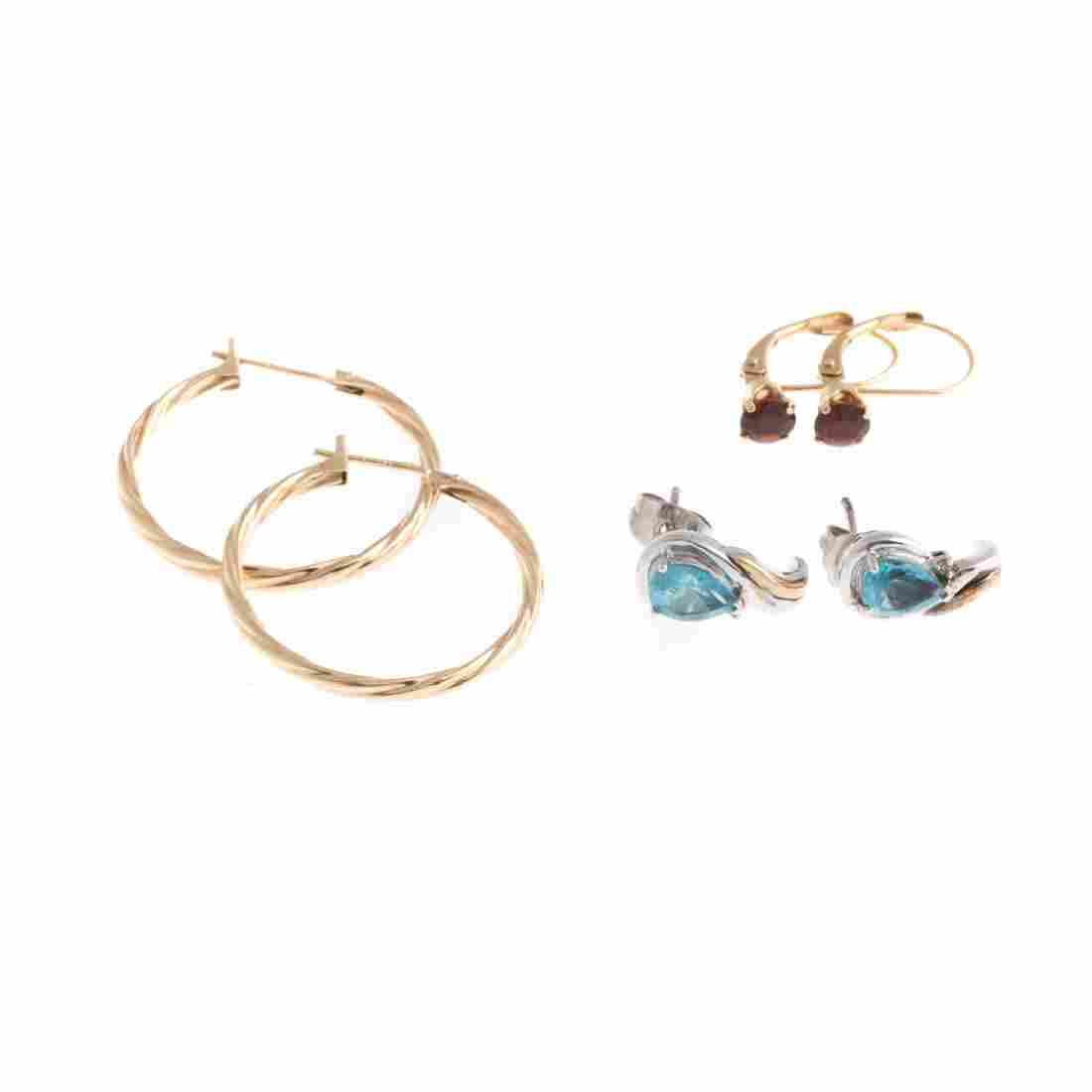A Trio of Lady's Gold Gemstone Earrings