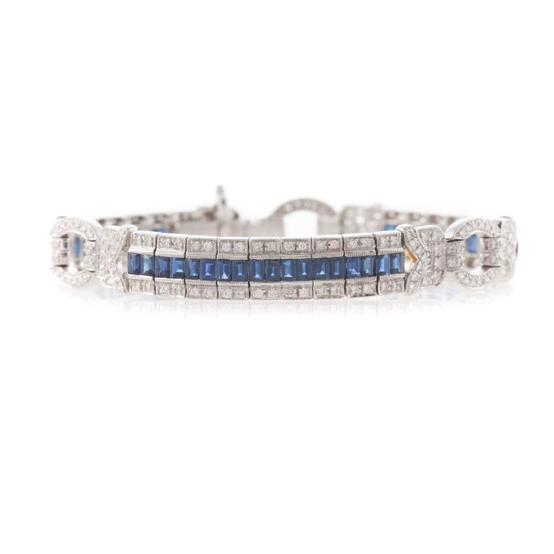 A 18K White Gold Diamond & Sapphire Bracelet