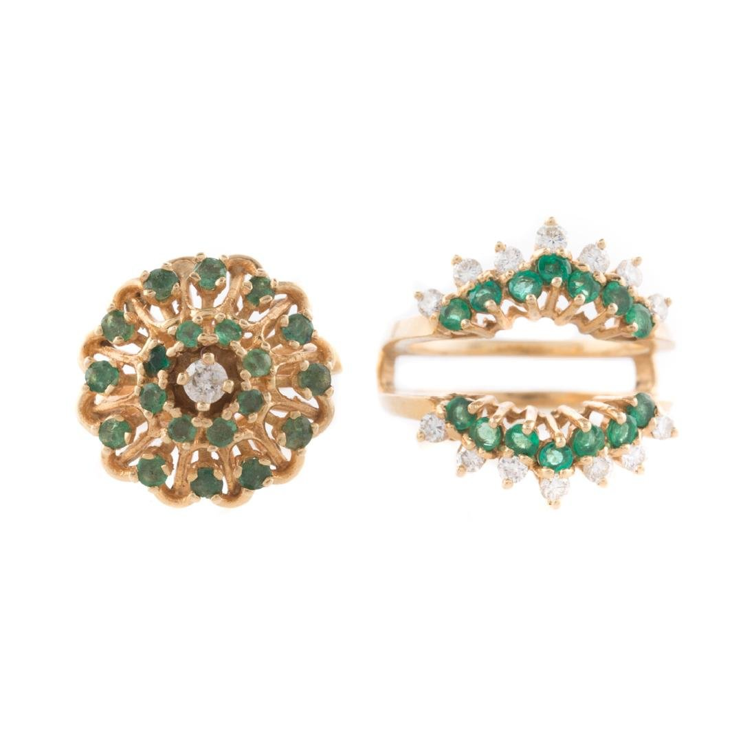 A Pair of 14K Gold Emerald and Diamond Rings