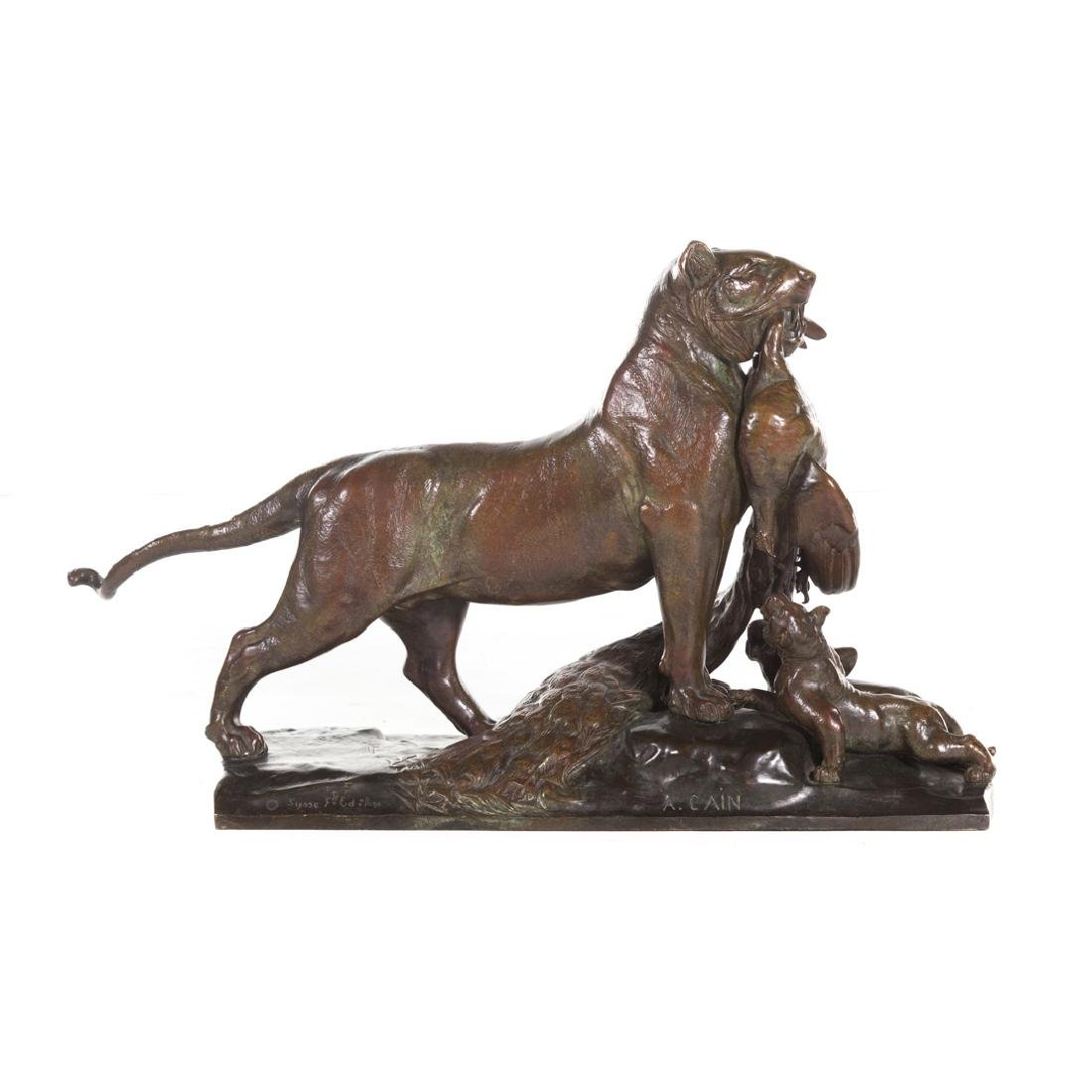 Auguste Cain. Tiger Family bronze