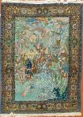 Persian Tabriz pictorial rug approx 62 x 83