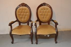 2 Pc. Lot Of Victorian Antique Gold Felt Wood Chairs