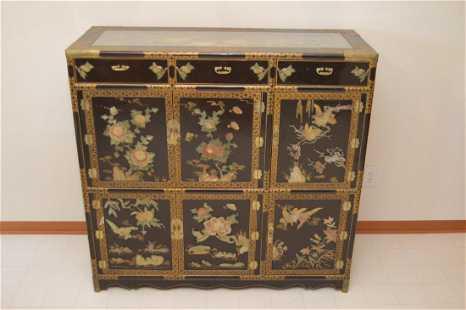 Antique Korean Chinese Cabinet W Soapstone Jade Asian Blue