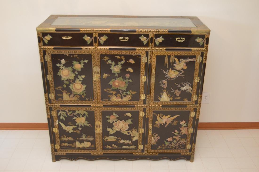 Antique Korean/Chinese Cabinet W/ Soapstone U0026 Jade