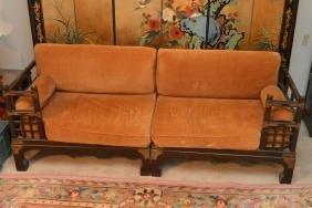 Rosewood & Brass Sofa W/ Gold Velvet Upholstery