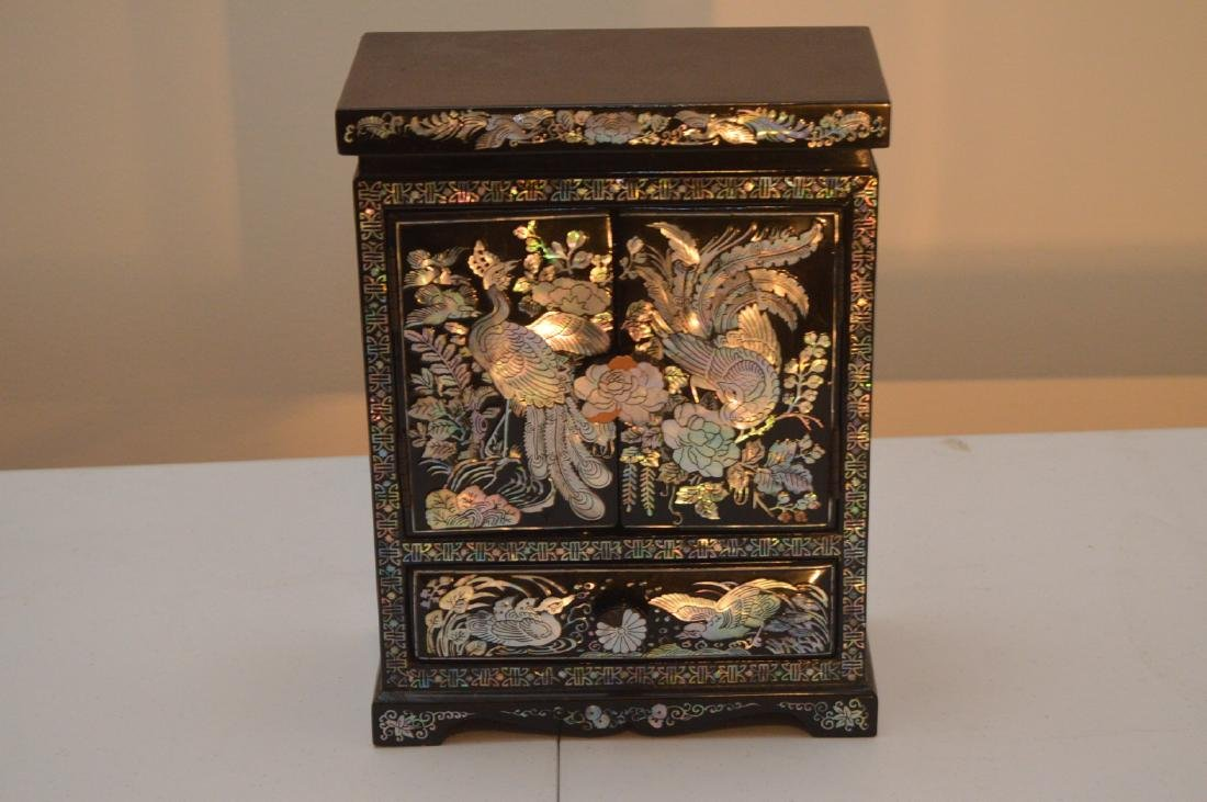 Black Lacquered Korean/Chinese Jewelry Box Mother Of
