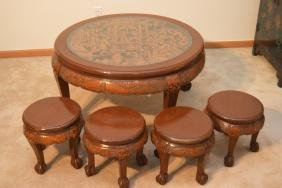 Antique Hand Carved Korean Wood Table & 4 Stools
