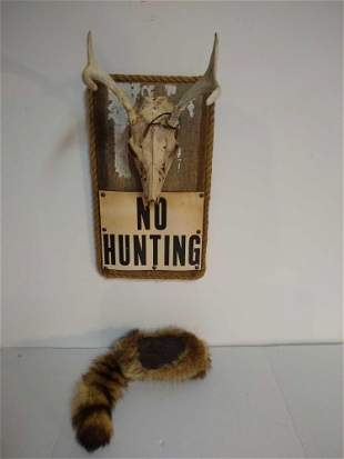 Vintage No Hunting Sign & Coon Skin Cap