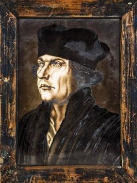 Signiertes Glasbild mit dem jungen Martin Luther