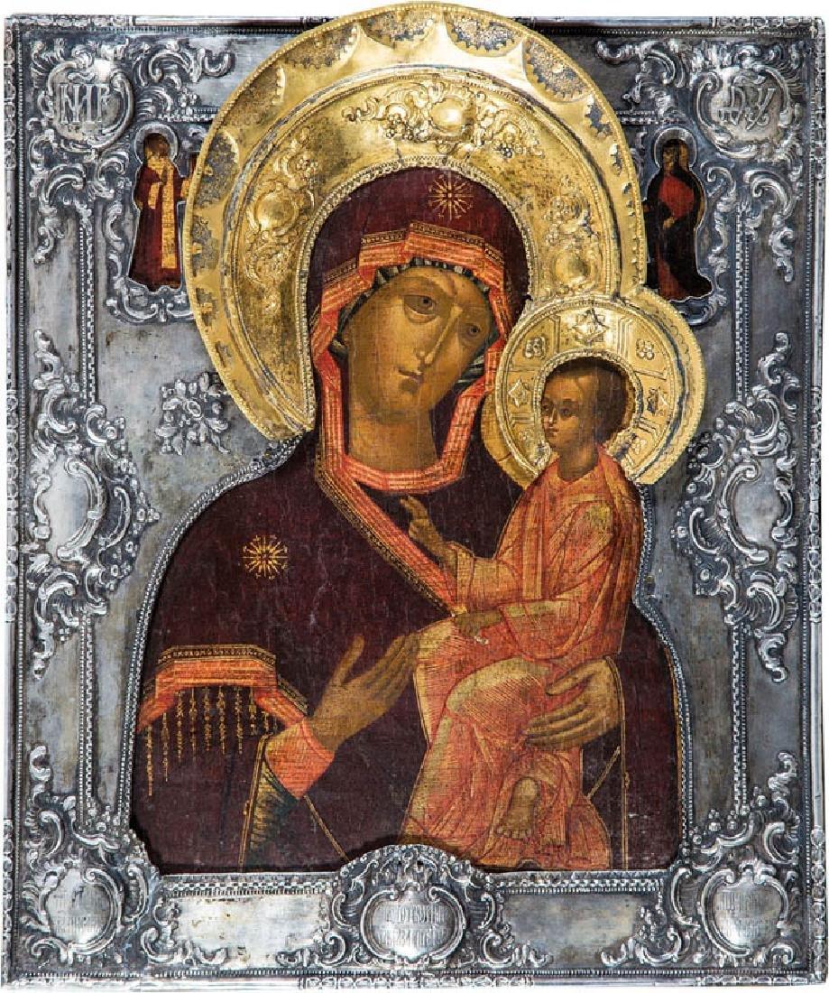 Gottesmutter von Tichwin (Tichwinskaja) mit Silberriza