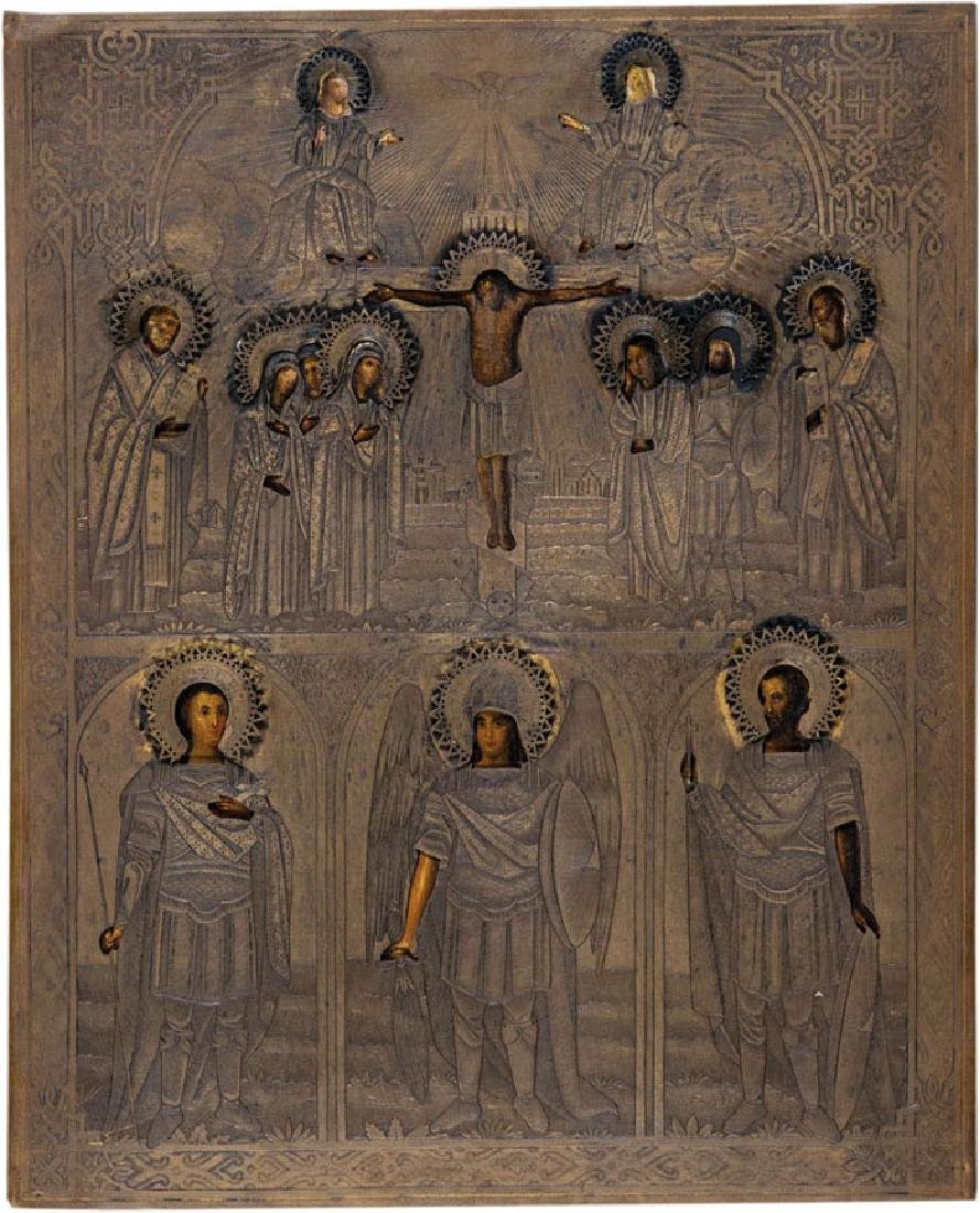 Großformatike Ikone mit der Kreuzigung Christi und